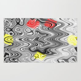 Absolute Abstract Grey Jiggle With Colour Splash Rug