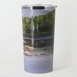 Landscape Vermont Summer River Watercolor Travel Mug