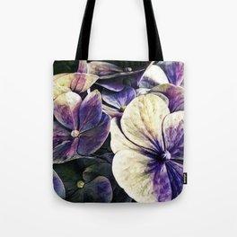 Hortensia flowers in vintage grunge watercoloring style Tote Bag