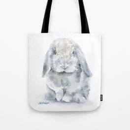 Mini Lop Gray Rabbit Watercolor Painting Tote Bag