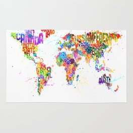 Paint Splashes Typography Text World Map Rug