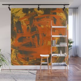 Orange & Olive Abstract Wall Mural
