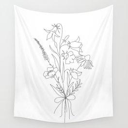 Small Wildflowers Minimalist Line Art Wall Tapestry