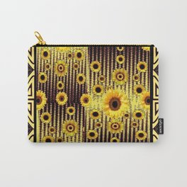 GREY ART DECO SUNFLOWERS ABSTRACT Carry-All Pouch