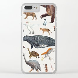 Animal chart of the Holocene extinction Clear iPhone Case