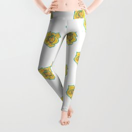 Yellow and Turquoise Rose Leggings
