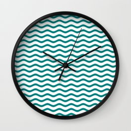 Teal and White Chevron Wave Wall Clock