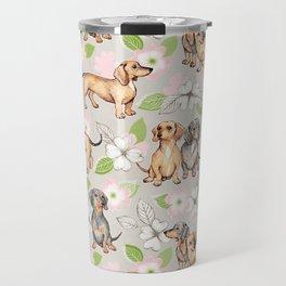 Dachshunds and dogwood blossoms Travel Mug