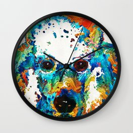 Colorful Poodle Dog Art by Sharon Cummings Wall Clock