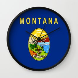 flag of montana,america,usa,big sky,treasure state, montanan,west,Billings,missoula,great falls Wall Clock