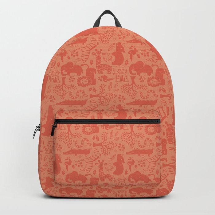 Zoo Animal Patten in Coral Backpack