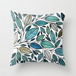 Leaf Illustration - Blue Green - P07 010 Throw Pillow