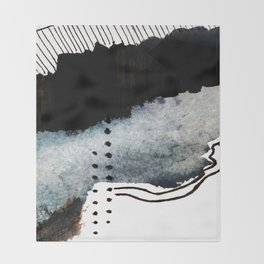 Closer - a black, blue, and white abstract piece Throw Blanket
