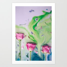 Three pink roses immersed in colorful milk Art Print