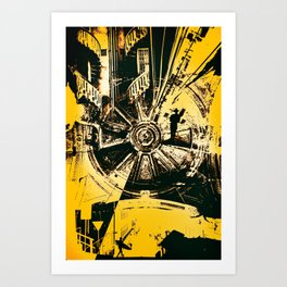 EXPLORE - Abstract surreal yellow black collage Part 2/3 Art Print