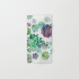 minimalist watercolor succulent arrangement Hand & Bath Towel