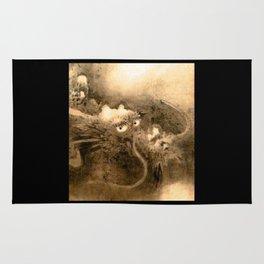 Dragon and wave,Tiger among bamboo by Kano Tannyu (1602-1674) Rug