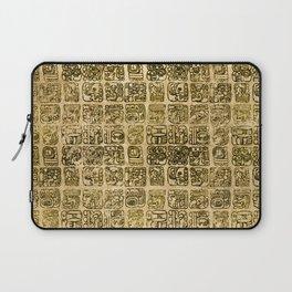 Mayan and aztec glyphs gold on vintage texture Laptop Sleeve