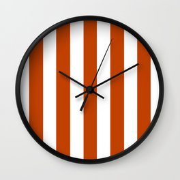 Mahogany red - solid color - white vertical lines pattern Wall Clock