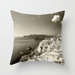 Santorini Seascape in sepia Throw Pillow