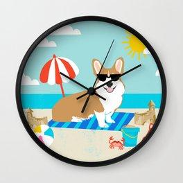 Corgi Summer Beach Day Sandcastles Dog Art Wall Clock