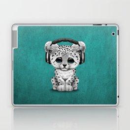 Cute Snow leopard Cub Dj Wearing Headphones on Blue Laptop & iPad Skin