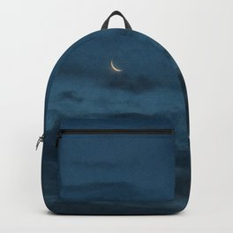 Morning Moonrise: Crescent in the Clouds Backpack