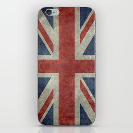 England's Union Jack, Dark Vintage 3:5 scale iPhone Skin