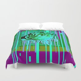 Green-Purple Fantasy Green Rose Abstract Duvet Cover