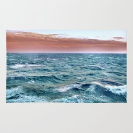 Brave ocean. vintage.  Windy high sea Rug