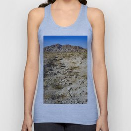 Dirt Trail Lines with Rocks Leading Back towards Granite Mountain in the Anza Borrego Desert Unisex Tank Top
