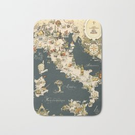 Gastronomic Map of Italy 1949 Bath Mat