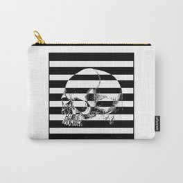 Black and white striped skull print Carry-All Pouch