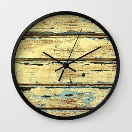 Yellow Planks, Wood Texture Decor Wall Clock