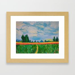 Monet's Expressionism Wheat Field Framed Art Print