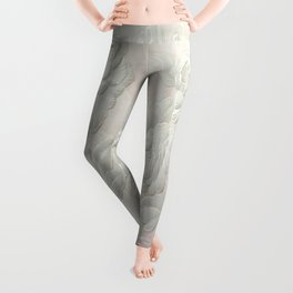 Embossed Painterly White Floral Abstract Leggings