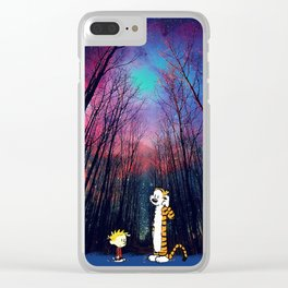 calvin and hobbes nebula night Clear iPhone Case