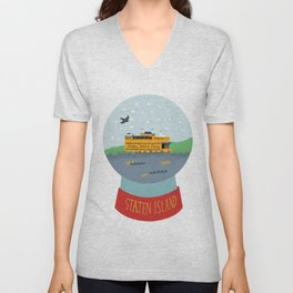 Staten Island Ferry, Snow globe, souvenir, new york city, nyc Unisex V-Neck