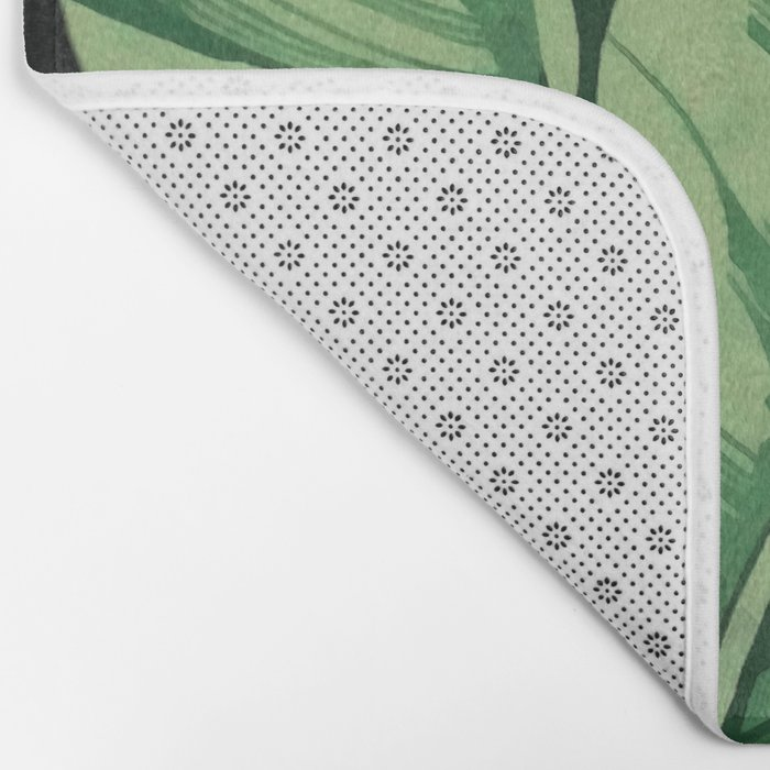 Tropical banana leaves II Bath Mat
