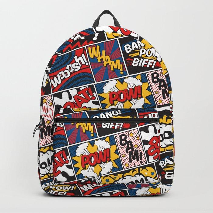 Modern Comic Book Superhero Pattern Color Colour Cartoon Lichtenstein Pop Art Backpack
