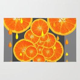 DRIPPING JUICY ORANGE SLICES ABSTRACT MODERN ART Rug