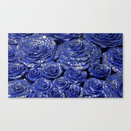 Silver on blue color roses Canvas Print