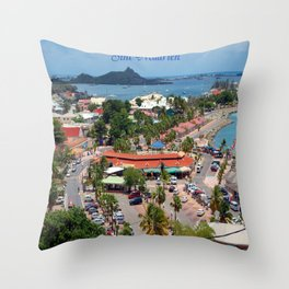 Colorful island and city scenes of Sint Maarten - St. Martin Throw Pillow