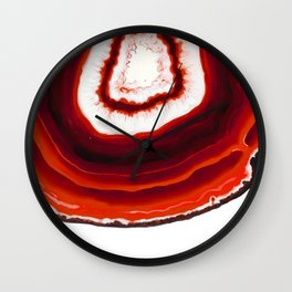 Red Agate Geode slice Wall Clock