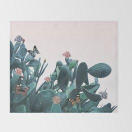 Cactus & Flowers - Follow your butterflies Throw Blanket