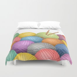 Two Crochet Hooks And A Lot Of Yarn Duvet Cover