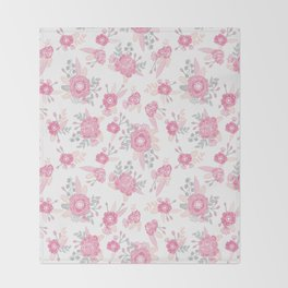 Pink pastel florals cute nursery baby girl decor floral botanical bouquet blooms Throw Blanket