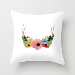 FLOWER ADORNED ANTLERS Throw Pillow