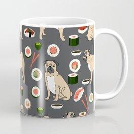 Pug sushi pattern dog breed cute pet art pet friendly gifts pugs Coffee Mug