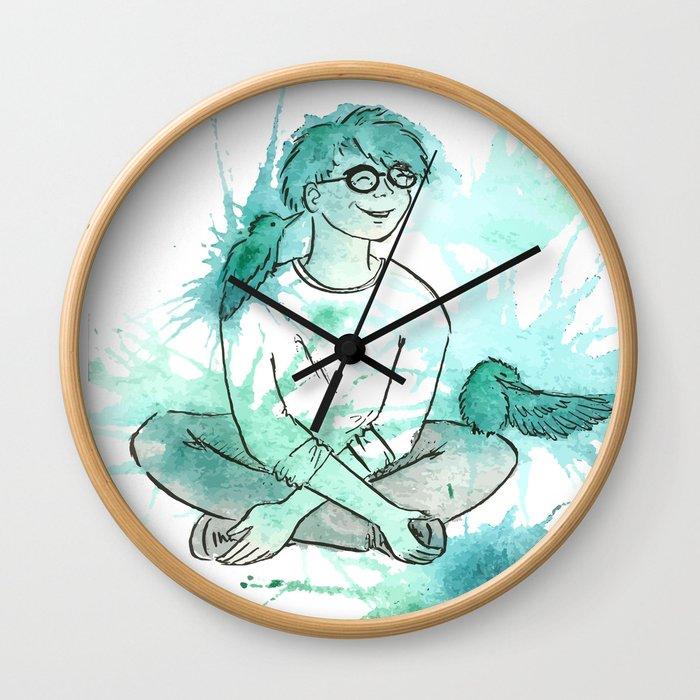Turquoise Kingfisher Wall Clock